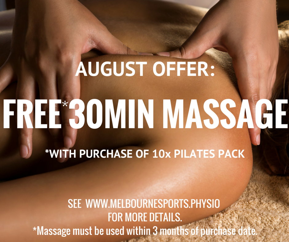 Free 30 minute massage when 10 x pack pilates classes purchased